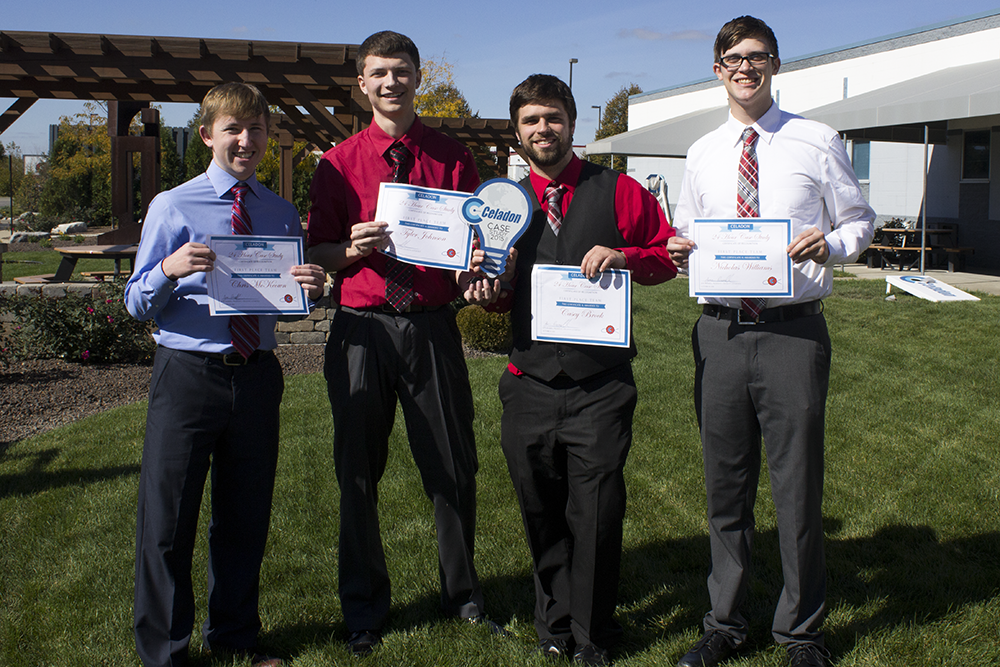 This year's winners of the Celadon Case Study Competition:Casey Brock '18, Nicolas Williams '19, Chris McKeown '19 and Tyler Johnson '18 of UIndy