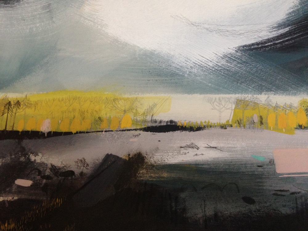 Delamere Forest inspired - mixed media on recycled A3 board