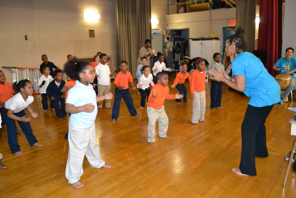 For the past five years we have worked with great dance teachers from Brooklyn Academy of Music. They teach students the history of African Dance and expressions through movement.