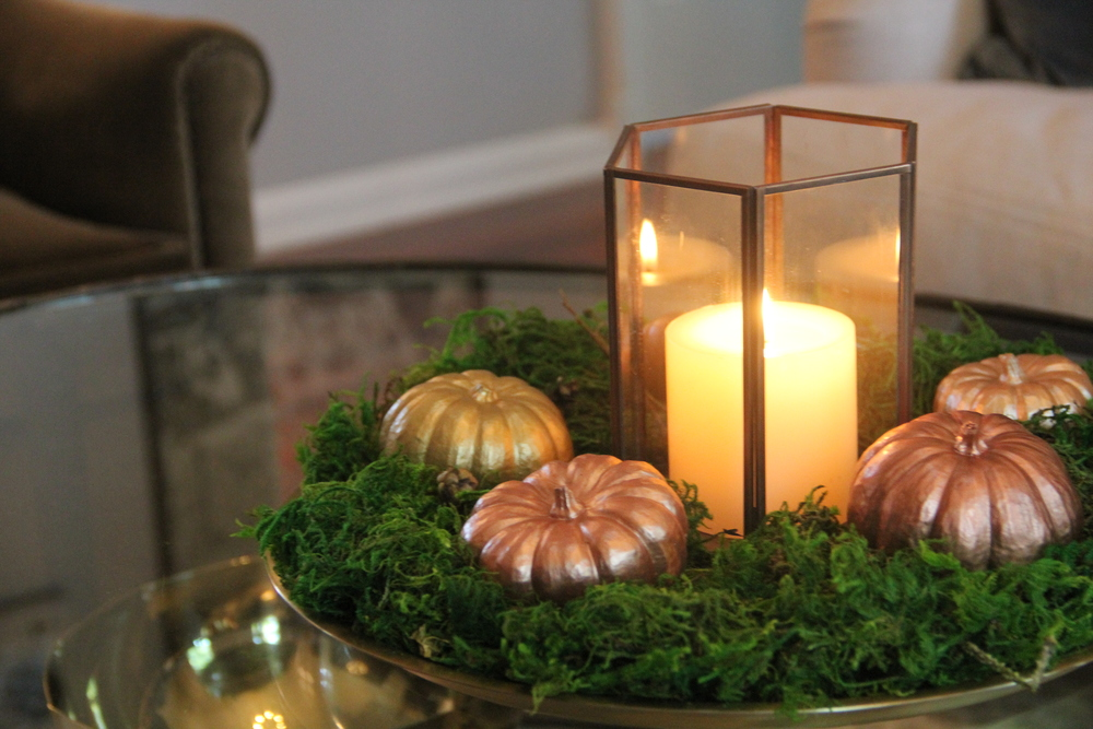 Metallic Pumpkin Centerpiece.JPG