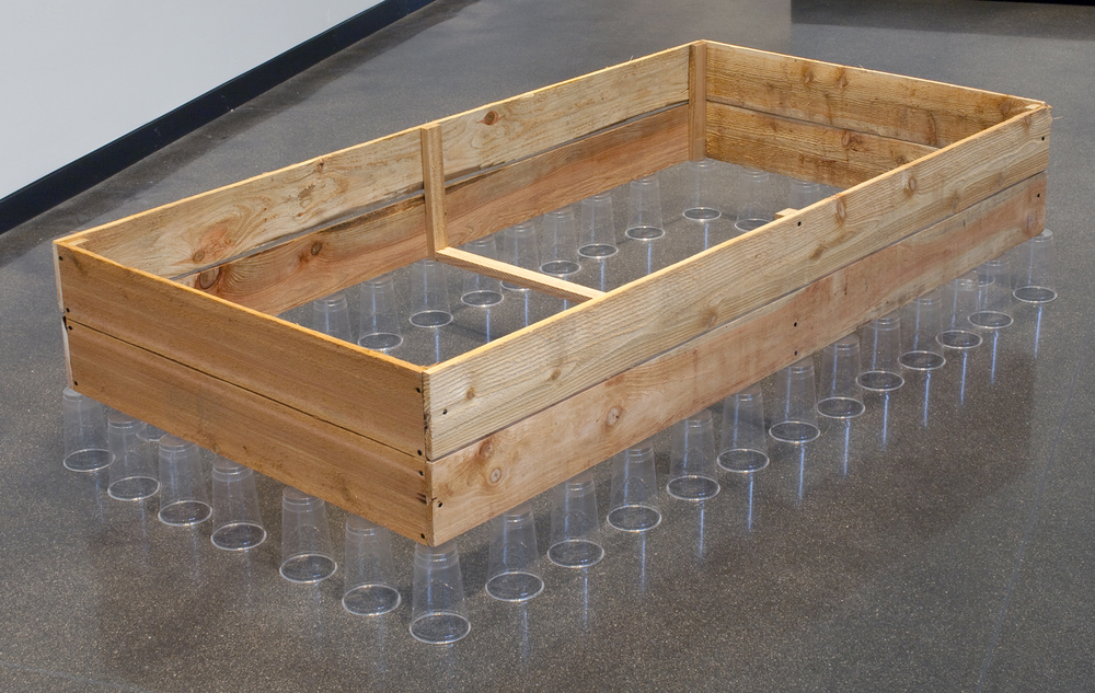 Raised Bed with Clerestory   Cedar planks, plastic cups. 2013.