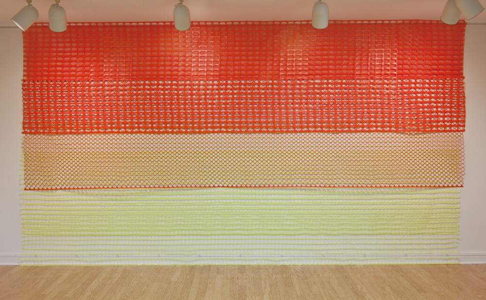 Construction/Safety fence, 2014.  Ridgewater College Art Gallery installation.