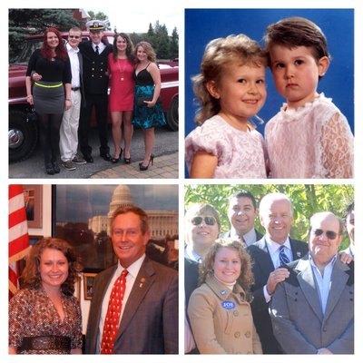 "Top Left: With my siblings in summer 2013 Top Right: My mullet alongside my sister's ""Dorothy Hammil"" Bottom Left: With Congressman Joe Wilson Bottom Right: With Vice President Joe Biden and several of my colleagues"