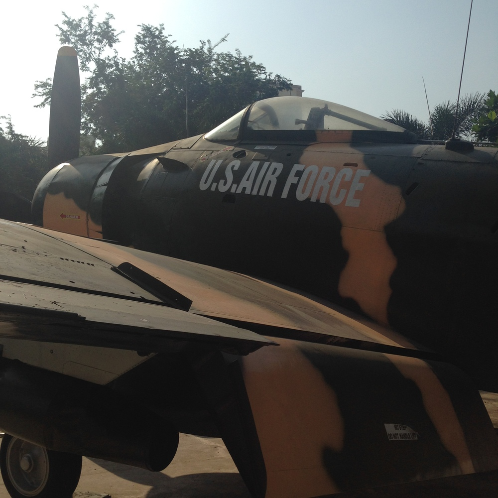 A United States Air Force plane on display in Saigon, Vietnam
