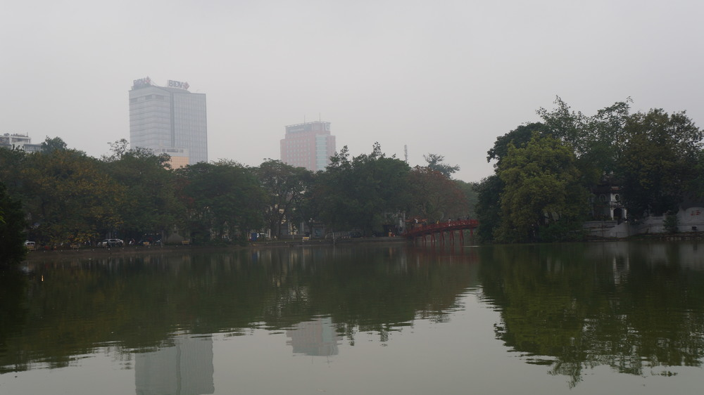 Hanoi's Hoan Kiem Lake with a view of the bridge to Ngoc Son Temple