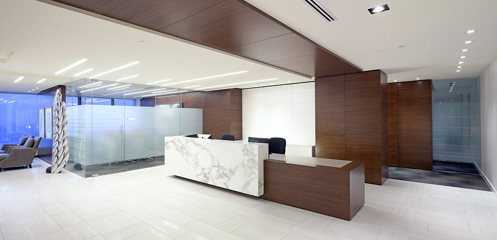 Norton Rose Fulbright  Canterra Tower, Calgary 2012  A timeless space that accurately reflects the first-class international law firm residing within it. Rich woods, natural materials, reflective surfaces,  and crisp detailing create a fresh but also inviting atmosphere.