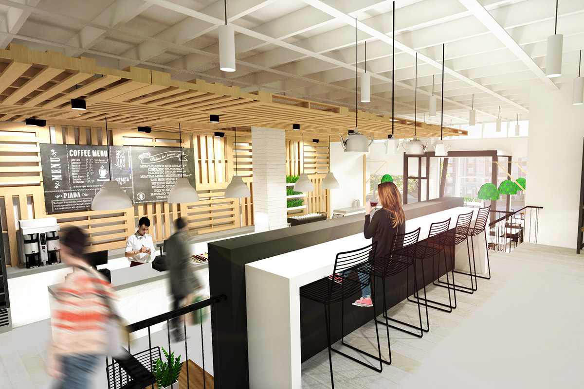 Coffee Shop Concept  Kensington, Calgary 2014 Reclaimed  wood pallets act as an&nbsp