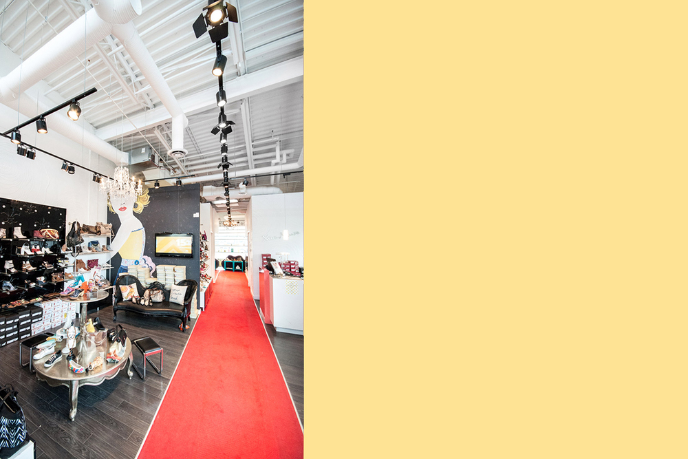"Shoe Muse  Aspen Landing, Calgary 2012  A boutique shoe store featuring an eclectic mix of interior design styles and details to match the eclectic collection of shoes. A ""runway"" draws customers to the great view from the rear of the store."