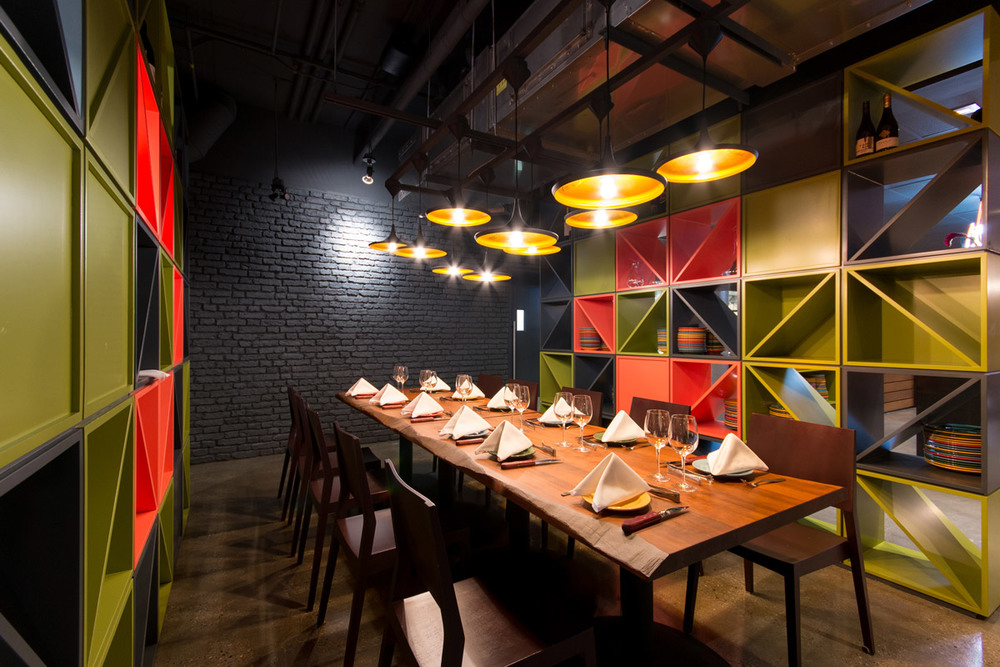 Minas Brazilian Steakhouse  Eau Claire Calgary, 2015  Minas Brazilian Steakhouse offers traditional Brazilian food in a contemporary setting. A bold colour palette and an eclectic mix of finishes and fixtures suit Minas' energetic and lively vision.