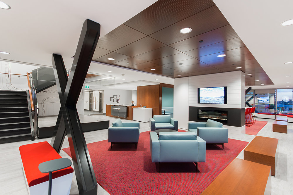 Black Diamond relocated several company departments into a single block of contiguous space built around a collaborative reception area. This interior design strategy was implemented to strengthen communication and the company's culture/brand.
