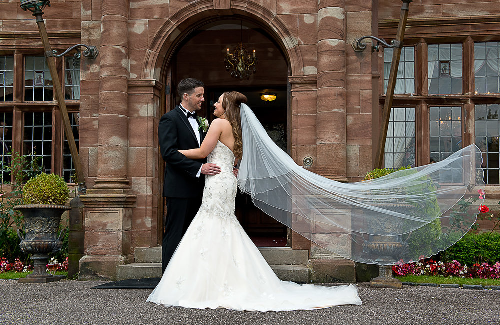 Wonderful veil picture outside Wrenbury Hall, Cheshire