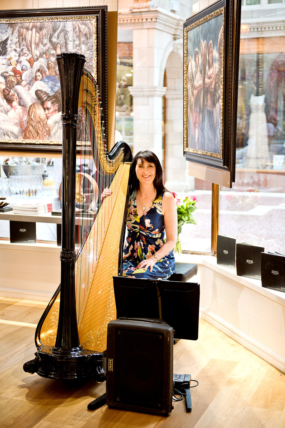 Oona plays at many events, in this case the opening of a gallery in Chester