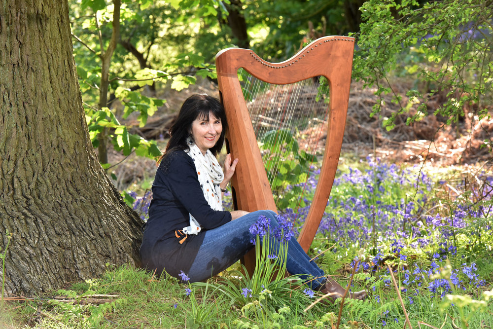 oona-Linnett-wedding-harpist-Dunham-Massey-Bluebell-wood