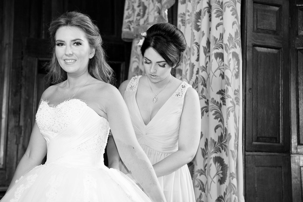 Looking at her very best before going to the Ceremony here in the Bridal Suit at Rowton Castle in Shropshire
