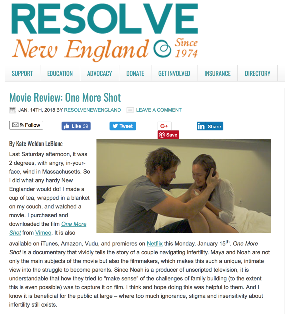 RESOLVE N.E. - RESOLVE New England wrote a review of the film. They said some nice things. Click the link to give it a read.