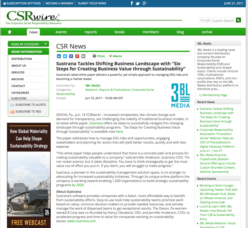CSRWire:  SustainIt/Sustrana