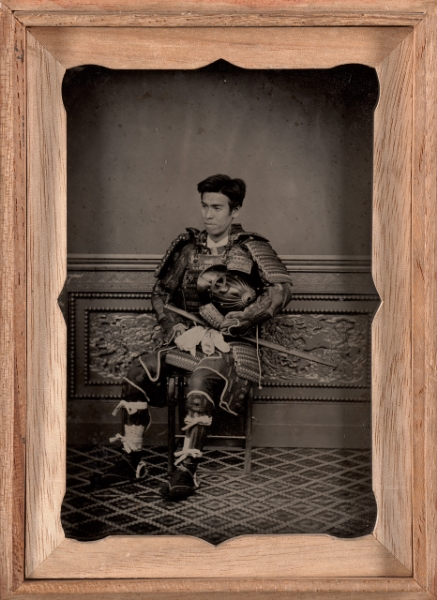 Attributed to: Tsukamoto, Japanese. Portrait of a man in samurai armor, mid 1870s. Ambrotype, 5 x 3 ½ inches. Gift of the Hall Family Foundation, 2011.12.44. © Nelson Gallery Foundation.