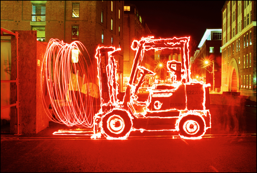 Forklift with FireWire Timelight Picture Study with Highway Flares