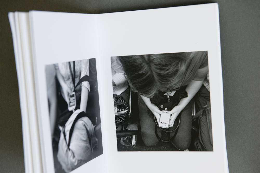 Inside there are nicely printed photographs of subway riders. The scale of the images, with plenty of white space around them, gives them room to breathe within the confines of the small book.  The prominent text on the cover alludes to the poetry that Ackman has incorporated alongside the images.