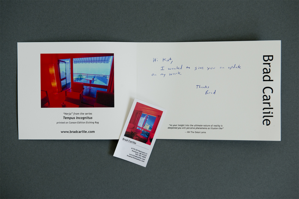 Opening the card, the image on the left provides a closer look into the rest of the series and the white space on the right is perfect for writing a note to the recipient.