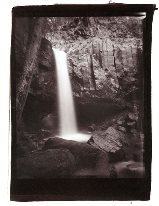 Hedge Creek Fall, 8x10 platinum contact print from homemade pinhole camera.