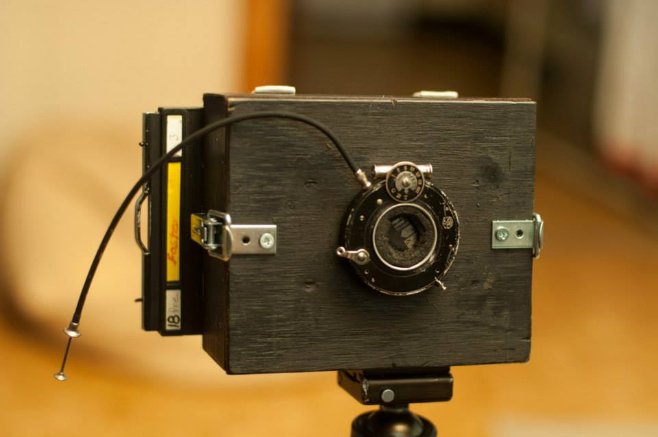 4x5 pinhole camera with shutter attached.