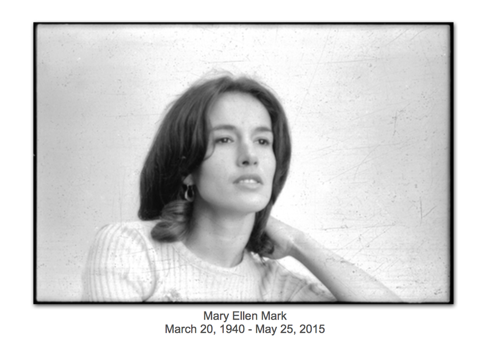 Screenshot of Mary Ellen Mark's studio website announcing her death.