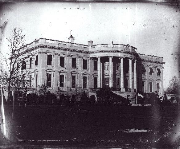 1846 daguerrotype of the White House by John Plumbe via  Wikimedia Commons