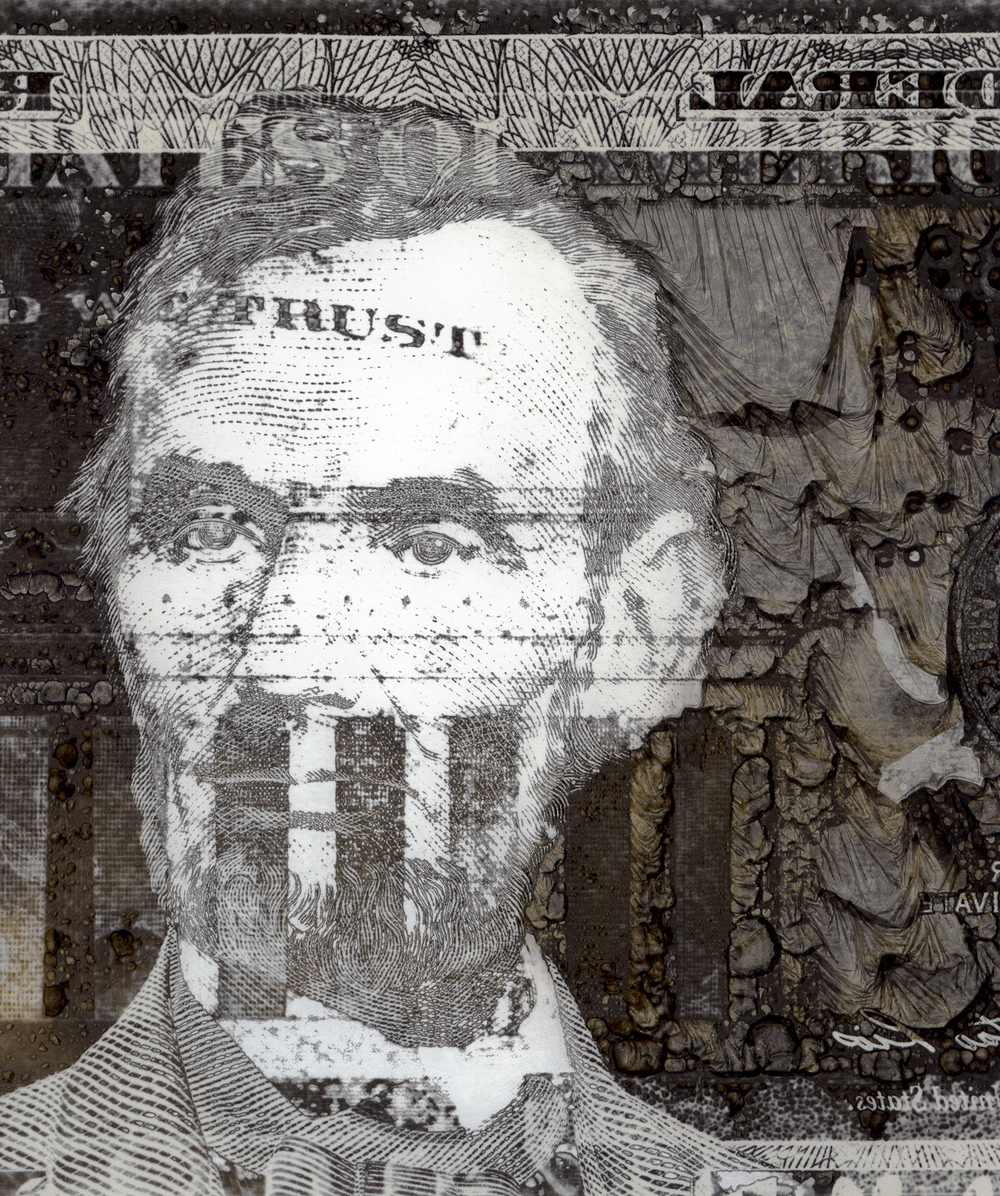 Lincoln  from the series  Currency , mordançage,  Darrell Kincer