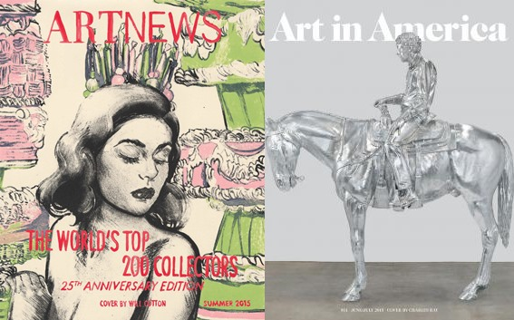 The current covers of ArtNews and Art in America.