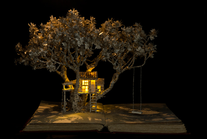 The House in the Oak Tree, 2015, book-cut sculpture
