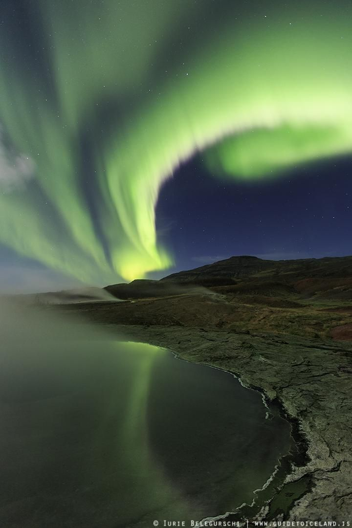 Aurora Borealis Along the Coast, Iceland