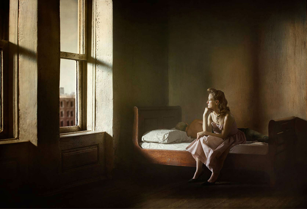 Woman and Man on a Bed  from the series  Hopper Mediations ,  Richard Tuschman