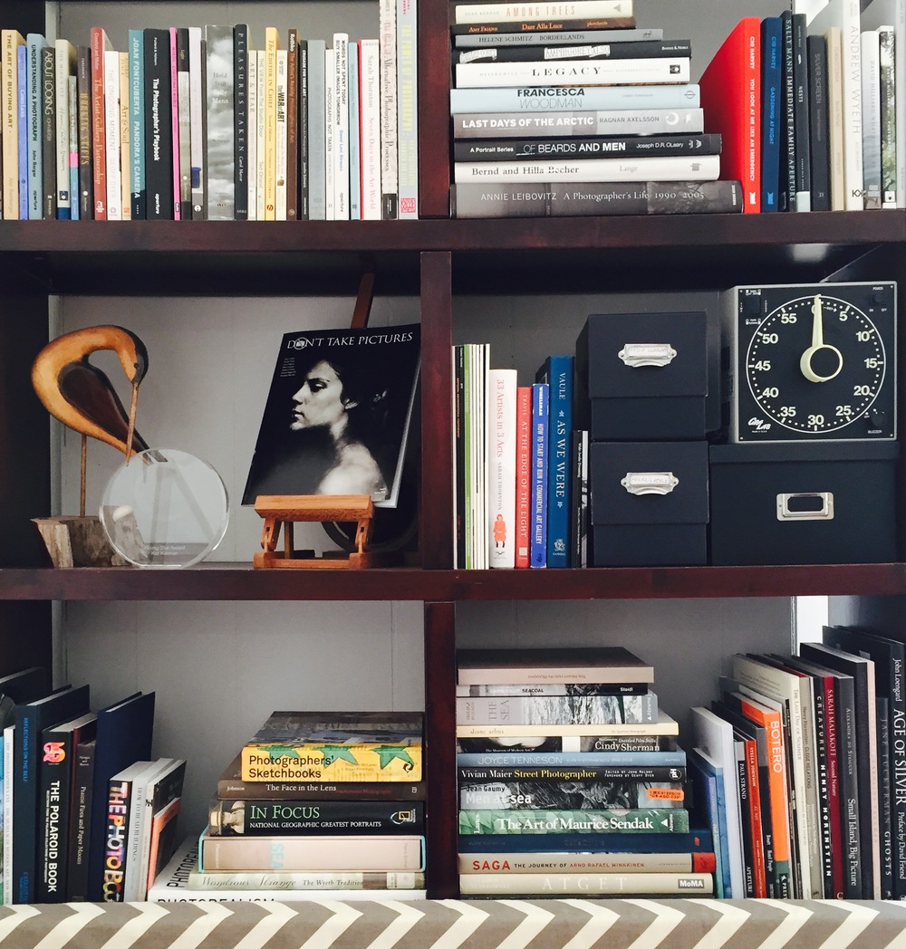Don't Take Pictures Editor-in-Chief Kat Kiernan's bookshelf above the couch.