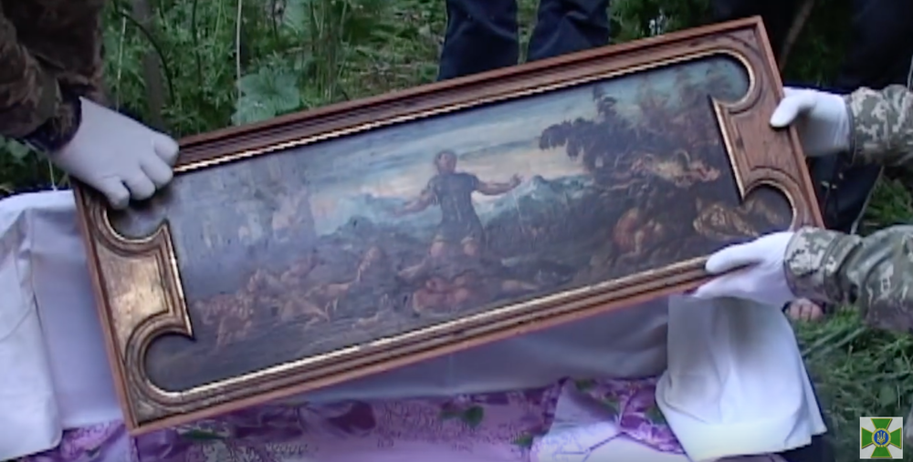 "Tintoretto's ""Samson"" recovered by Ukrainian border guards (screenshot via  YouTube )"