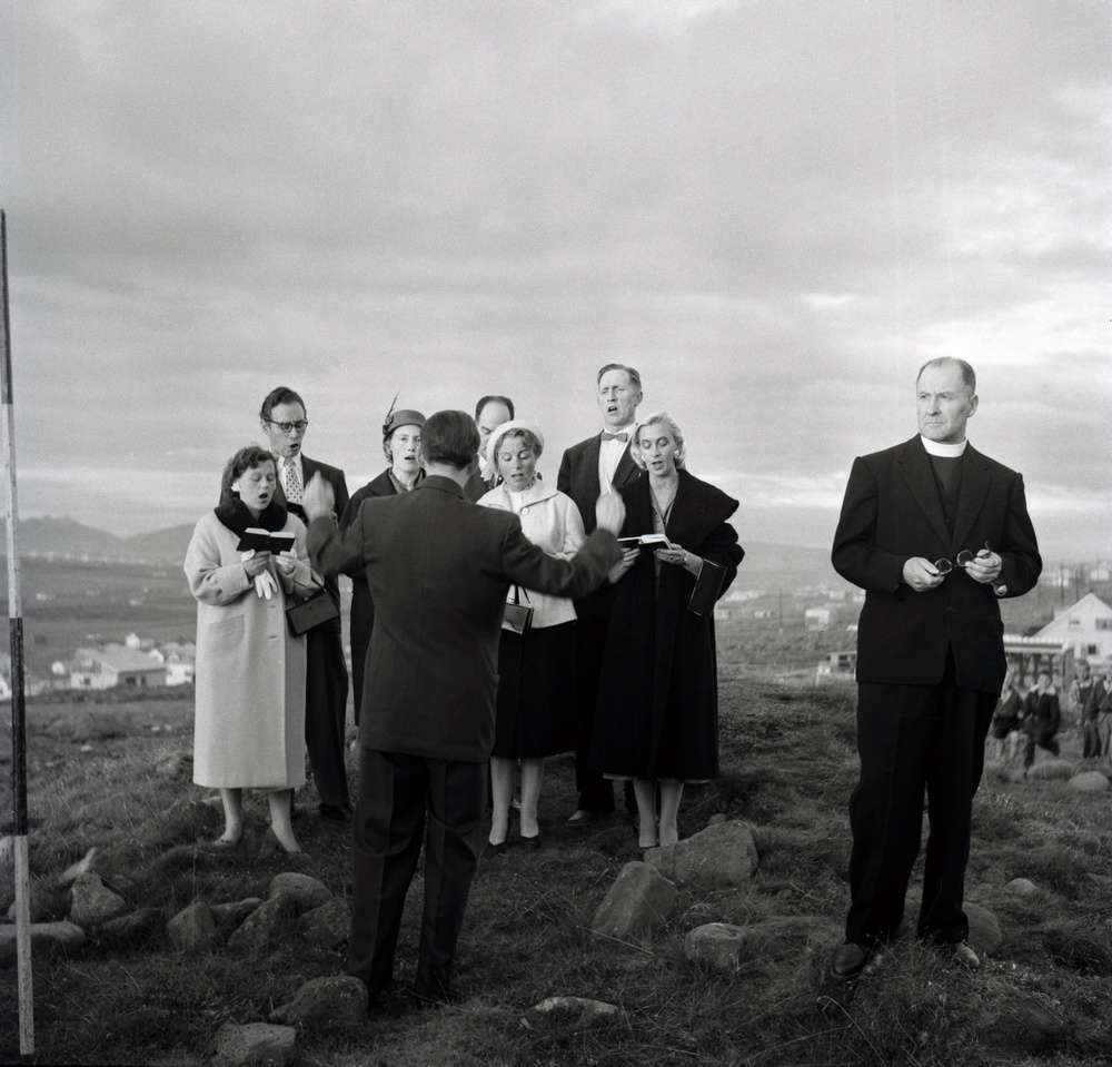 Sigurhans Vignir (1894-1975) Ground-breaking ceremony for Kópavogur Church, 1958.