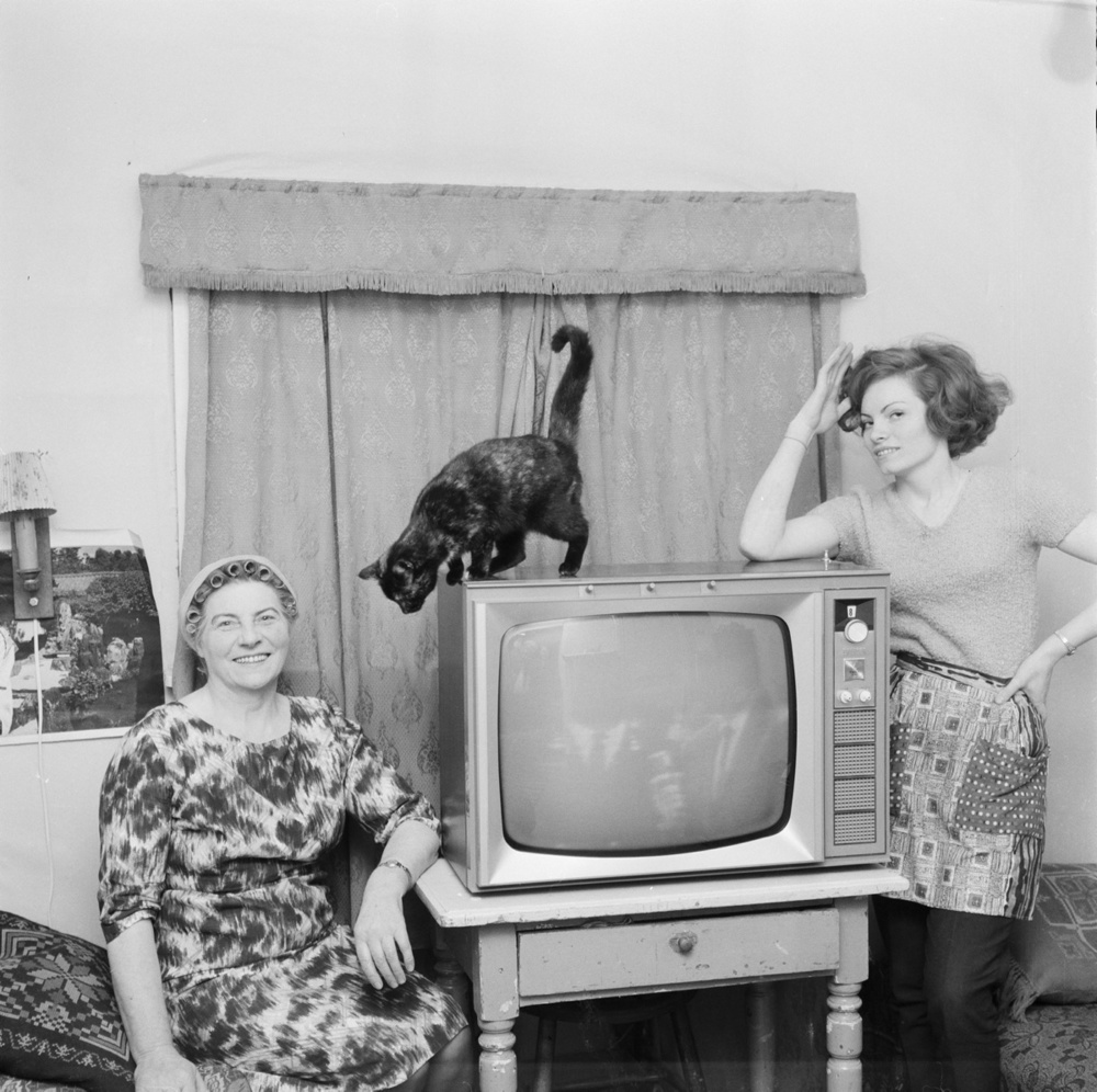 Sveinn Þormóðsson (1926-2002) Women, cat, TV, 1964.