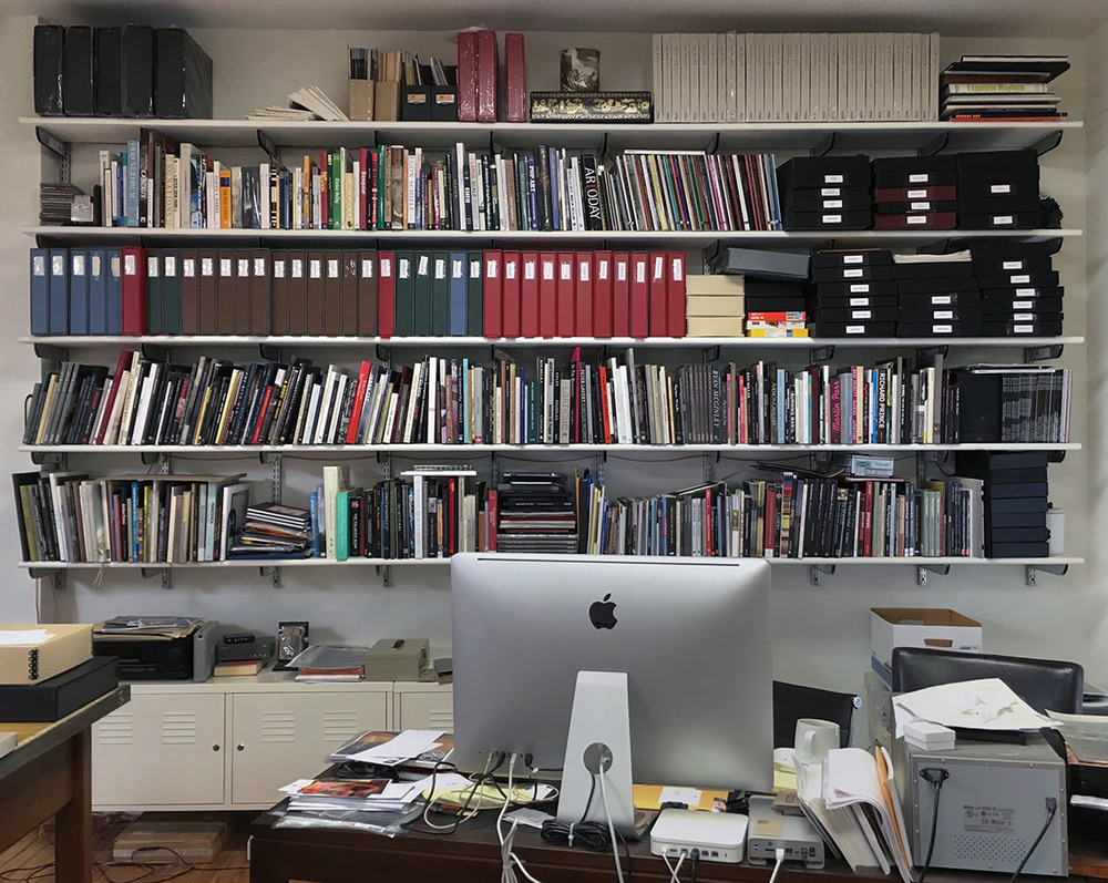 Gordon Stettinius' office shelves at Candela Books + Gallery