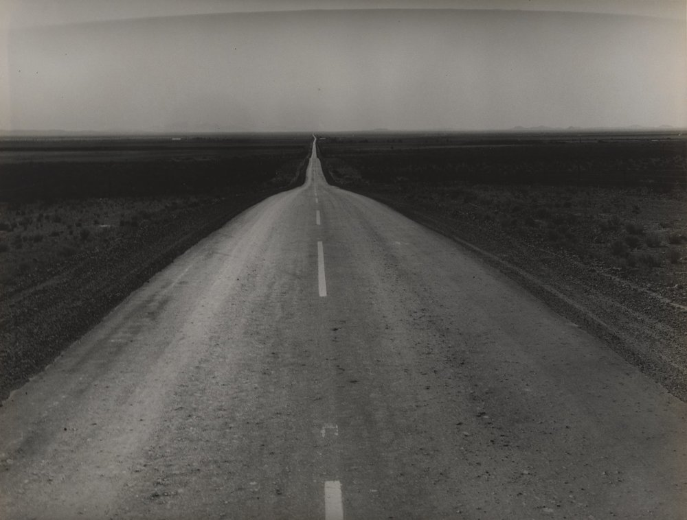 Dorothea Lange,  The Road West, U.S. 54 in Southern New Mexico, 1938 ; collection of the Sack Photographic Trust and the San Francisco Museum of Modern Art, gift of Shirley Ross Davis; © Oakland Museum of California, the city of Oakland, gift of Paul S. Taylor; photo: Don Ross.