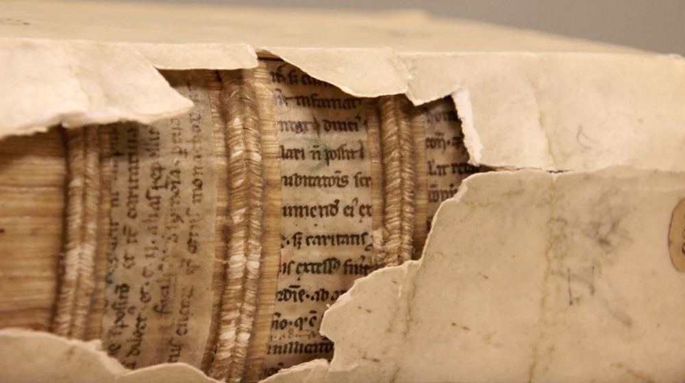Fragments of 12th-century manuscripts used to construct a 16th-century bookbinding in Leiden University Library. Photograph: Erik Kwakkel