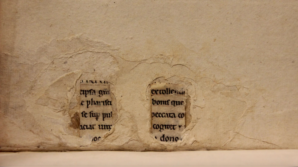 Manuscript fragments in one of Leiden University's books. Photograph: Erik Kwakkel