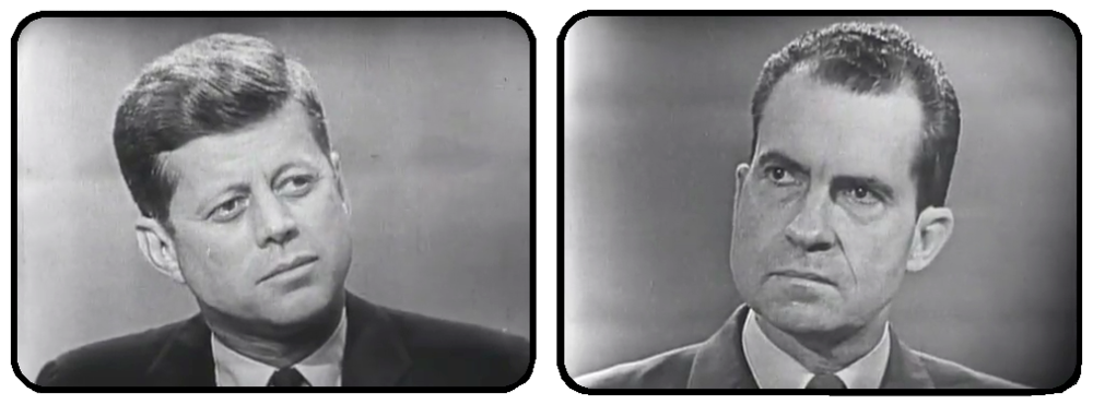 TV stills from the 1960 Nixon-Kennedy Presidential debate.