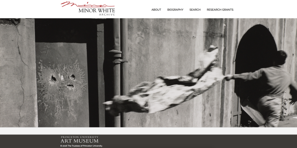 Princeton University's Minor White website. Screenshot.