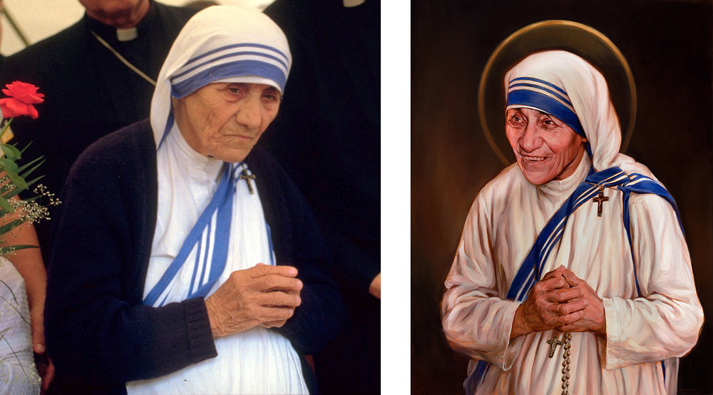 Saint Teresa of Calcutta  (1910 - 1997). Canonized: 2016. Photo: 1986 by © Túrelio (via  Wikimedia Commons )