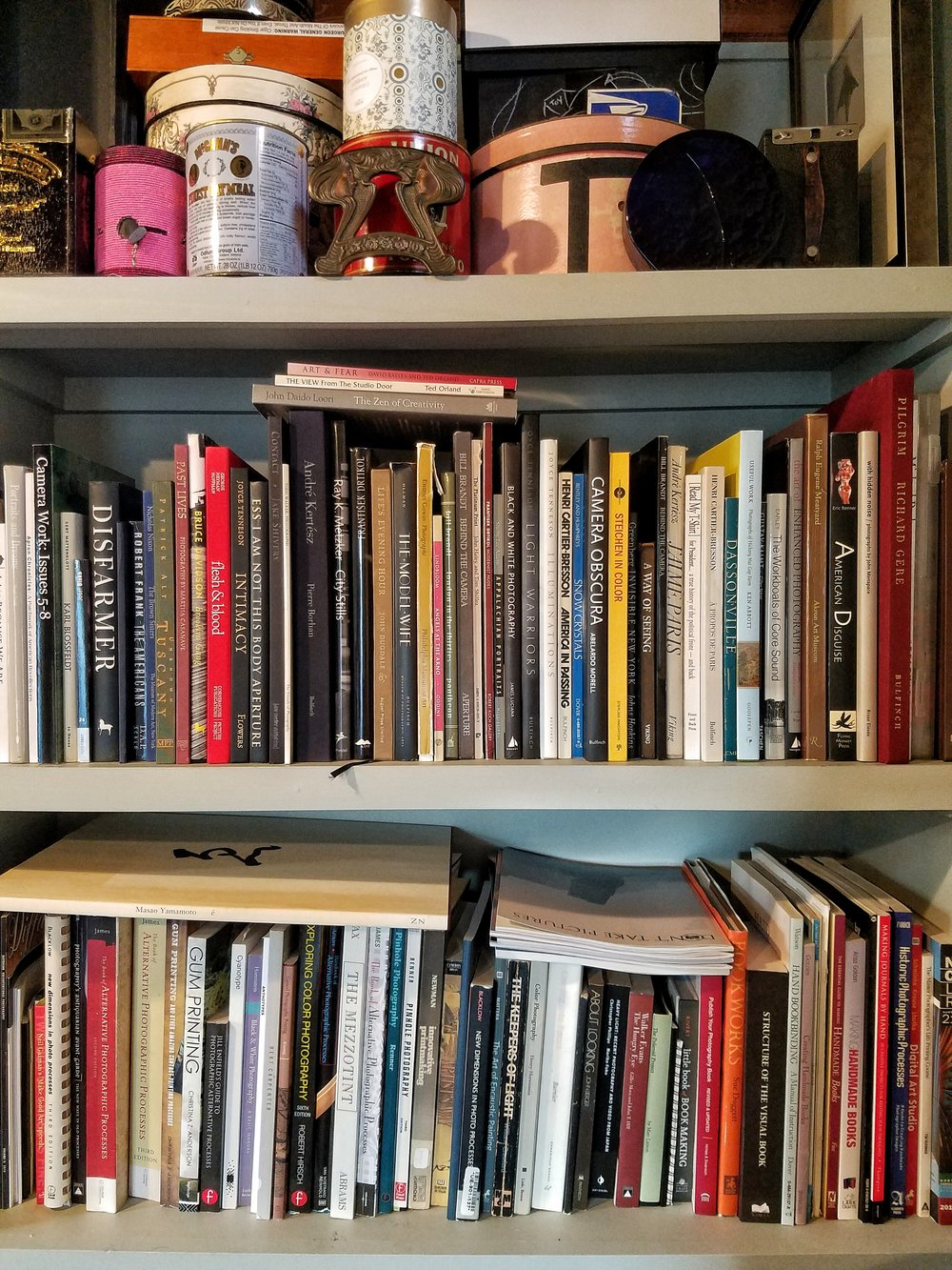 Diana H. Bloomfield 's studio shelves.