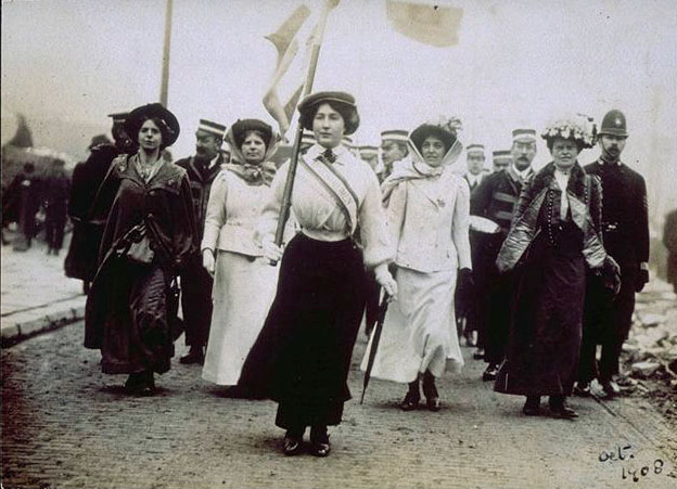 Suffragettes marching for women's rights.