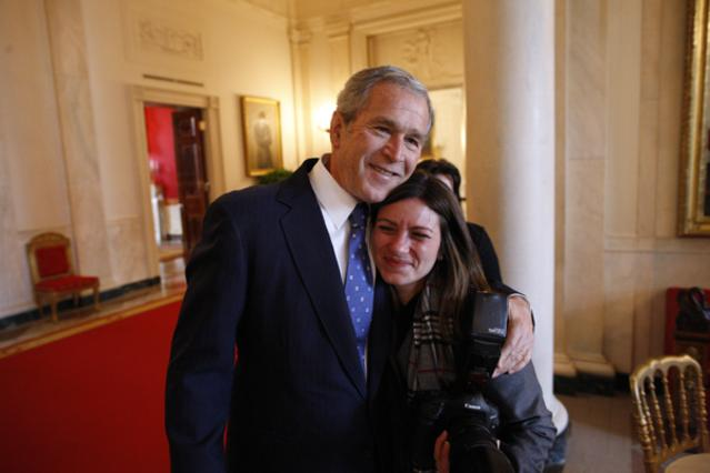 Shealah Craighead with George W. Bush. Photo by Eric Draper via Wikimedia commons