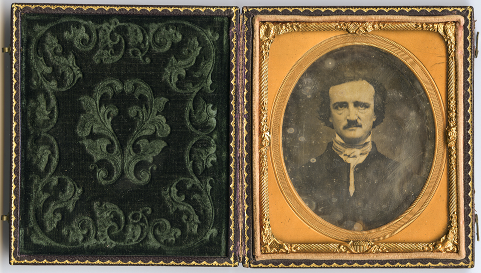 "Edgar Allan Poe . Daguerreotype. November 1848. Sixth plate. The so-called ""Ultima Thule"" image, made in Providence, Rhode Island. Gift of Mrs. Charles T. Tatman in memory of her husband, 1947."