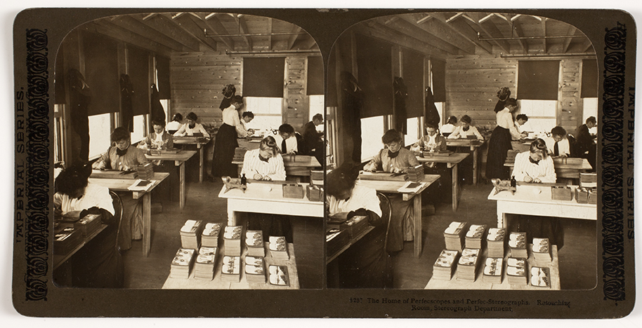 H.C. White & Co.  The Home of Perfecscopes and Perfec-Stereographs. Retouching Room, Stereograph Department.  North Bennington, Vermont, ca, 1901.