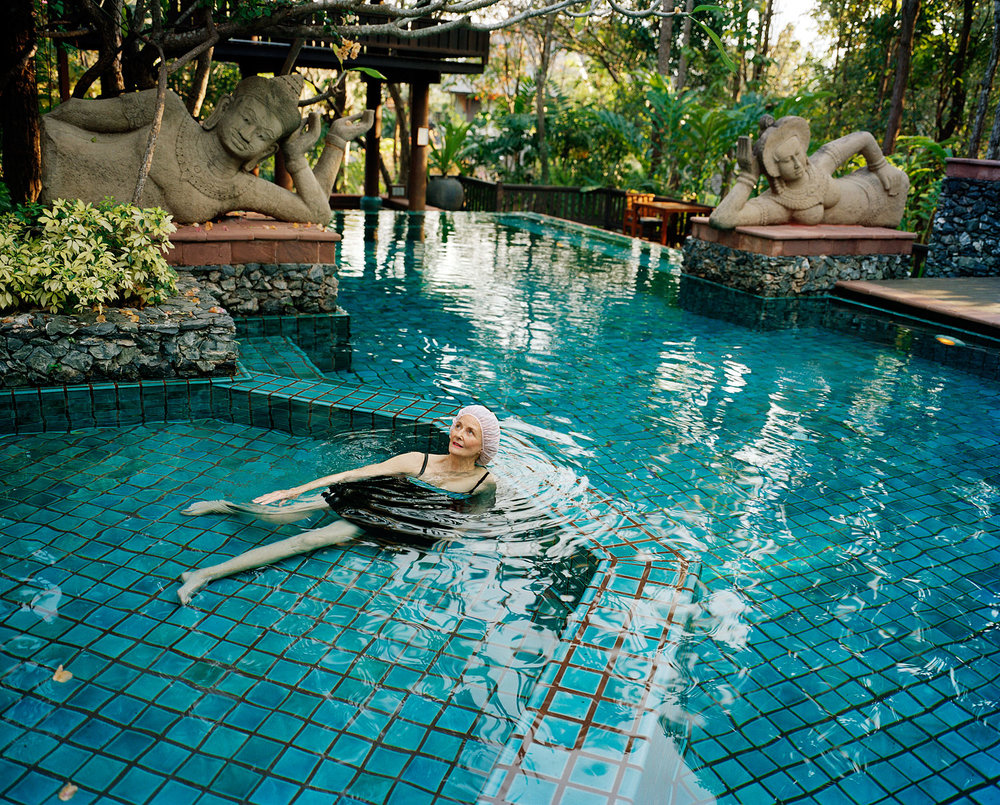 Swimming with Buddhas, Four Seasons Resort, Chiang Mai, Thailand, 2008  from the book  Witness to Beauty . © Sage Sohier